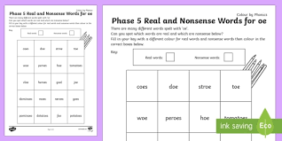 Phonics is like an adventure. Phonics Phase 5 Words With Oe Colour Worksheet