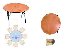 4ft round wooden folding table