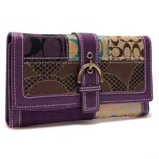 Coach Holiday Buckle In Signature Large Purple Wallets 22888