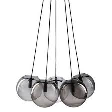 orbe grey smoked glass 5 ball pendant 126 x 59cm