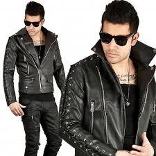 HugMe.fashion <b>Men New Genuine Leather</b> Black Slim Rider Jacket ...