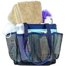 mesh shower caddy shower bag portable shower tote with 7 mesh storage pockets and key hook mesh shower caddy