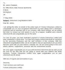 retirement congratulations letter letter of retirement
