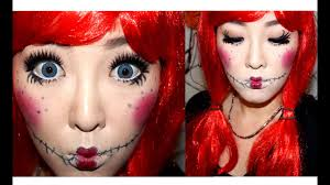 cute rag doll halloween makeup tutorial 귀여운 할로윈 인형 메이크업