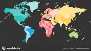 Colorful Political Map Of World Divided Into Six Continents