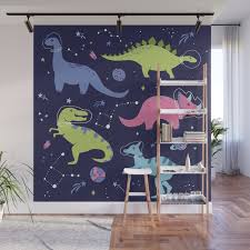 dinosaurs in space wall mural by lathe