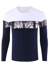 2018 Jungle Print Color Block Crew Neck Tee Blue L In Long Sleeves Cheapest Place To Print In Color L