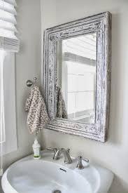 small bathroom wall mirrors. Rustic Bathroom Mirror Ideas With Distressed White Frame Small Bathroom Wall Mirrors