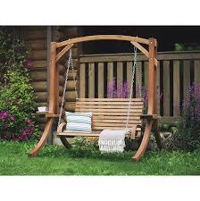 wooden garden swing brown novara