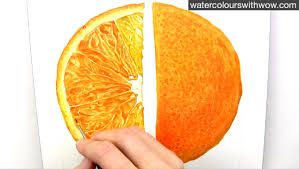 how to paint a realistic juicy orange slice in watercolour with anna mason