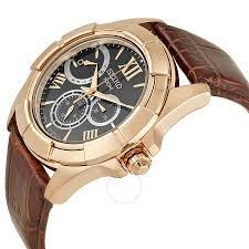 seiko classic rose gold tone stainless steel brown leather men s watch snt046