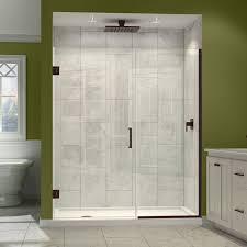 white bathroom cabinet with cozy tile flooring and dreamline shower doors  plus rain shower for modern