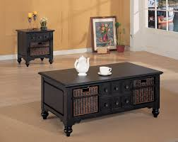 coffee table coffee and end tables sets dark wood drawers rattan and mug painting and