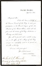 Invitation To A Funeral Letter Invitation to Lincoln Funeral New York Remembering Lincoln 1