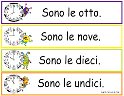 FREE ~ Italian Printouts for Children ~ Worksheet Time ~ Time in ...