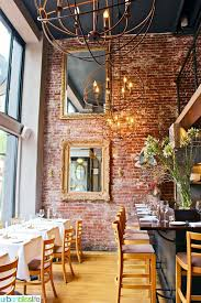 Mucca Osteria, Italian Restaurant in Portland, Oregon. Love the brick wall  and black ceiling here
