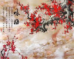 Beibehang 3D Wallpaper HD Marble Plum ...