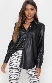 black faux leather oversized shirt image 1