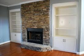 stacked stone veneer backsplash fireplace surround thin panels