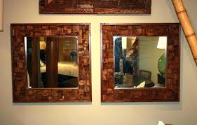 wood mirror frame. Wood Mirror Frame Ideas Interior Double Square With Brown Wooden Placed On The Cream Diy . S