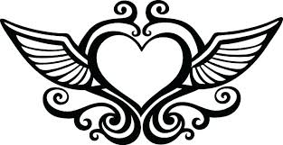 coloring pages with hearts coloring pages hearts angel wings