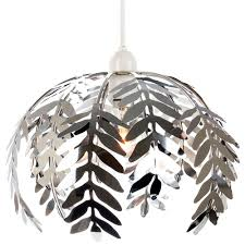 traditional fern leaf design ceiling pendant light shade in silver chrome finish