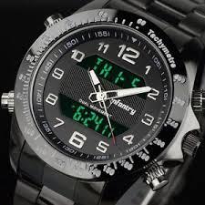 black stainless steel watch infantry mens digital quartz wrist watch black sport chronograph stainless steel