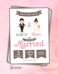 Online Wedding Invite Template Free Pdf Save The Date Cartoon Couple For Customizations