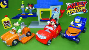 mickey and the roadster racers 2 in 1 transforming race cars hot rod donald duck goofy garage toys