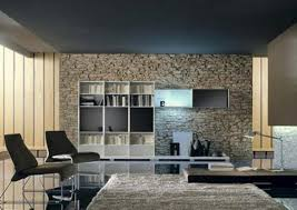 modern living room with stacked stone wall