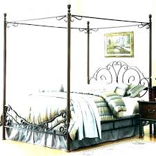 Wrought Iron Canopy Bed Frame Queen Black – a-esthe