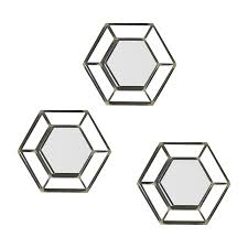 holly martin wyson matte black antique gold polished hexagon wall mirror