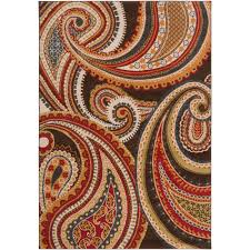 Meticulously Woven Contemporary Brown/Red Floral Paisley Floral Carnation  Rug (2'