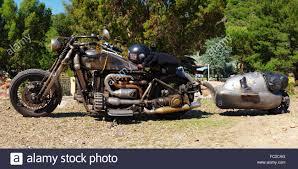custom rat bike with trailer stock photo royalty free image