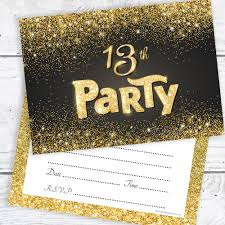 13th Party Invitations Black And Gold Effect 13th Birthday Party Invitations Ready To Write With Envelopes Pack 10