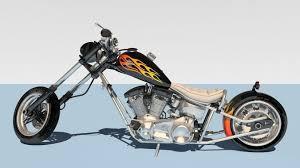 harley davidson chopper 3d model cgtrader