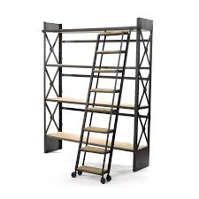 Industrial Bookcase with Library Ladder | dotandbo.com
