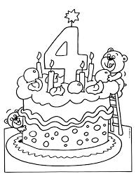 Kleurplaat Verjaardagstaart 4 Jaar Kleurplatennl