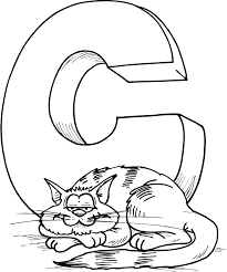 letter C for Cat colouring page