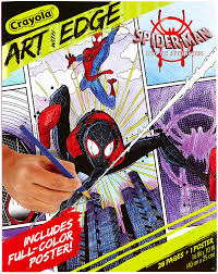 You have a board which is sketched the spiderman. Amazon Com Crayola Spiderverse Coloring Book Pages 1 Full Color Spiderman Poster 28 Pages Gifts For Teens Adults Toys Games