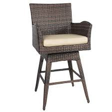 Outdoor Patio Furniture All Weather Brown PE Wicker Swivel Bar