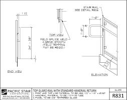 r831 glass rail top guard rail with standard handrail return