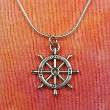 details about dharmachakra love necklace buddha buddhist ships steering wheel dharma pendant