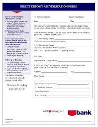 Employee Direct Deposit Authorization Agreement Direct Deposit Authorization Forms Templates Bash