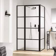 harbour status matt black framed easy clean 8mm pivot crittall shower door with inline panel