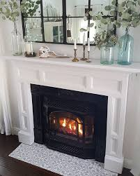 a diy stenciled fireplace hearth floor using the augusta tile stencil from cutting edge stencils