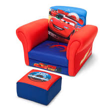 disney pixar lightning mcqueen cars club kids chair with ottoman set in blue red