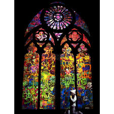 banksy stained glass window graffiti hand painted reion zoom