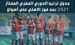 جدول ترتيب الدوري المصري الممتاز 2021 بعد فوز الاهلي على أسوان بنتيجة 1/3