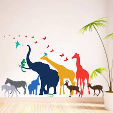thirteen safari animal wall stickers on jungle animal wall art with thirteen safari animal wall stickers the bright blue pig